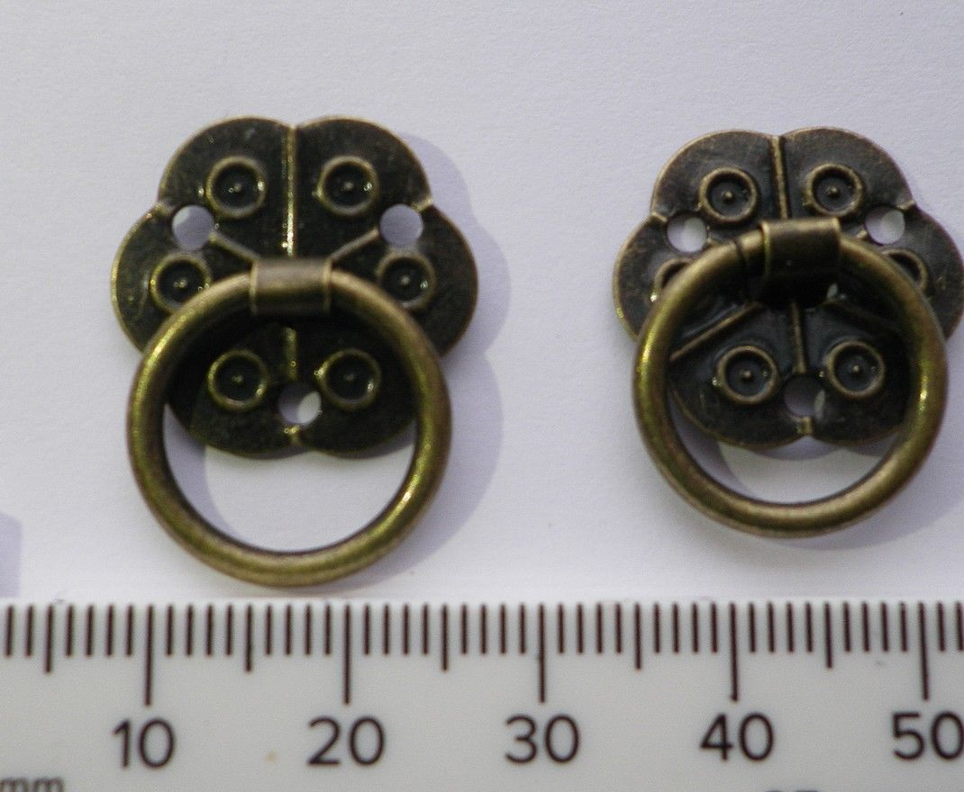 NEW Pair of small drop ring drawer handles ornate antique finish ...
